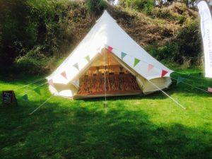 Bunting on tent