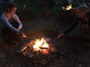 Evening Campfire with Marshmallows at Dreamy Hollow Campsite in North Norfolk