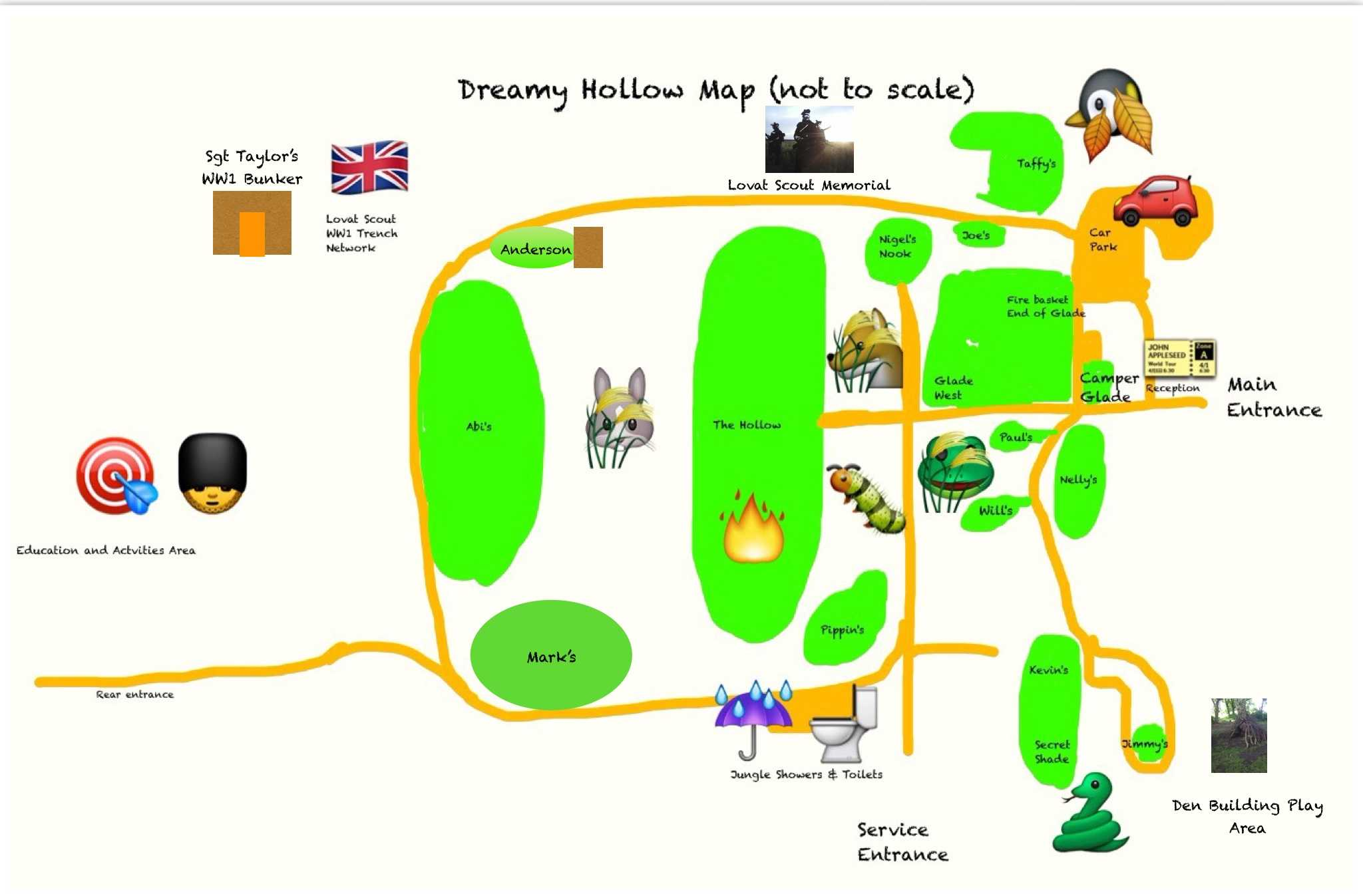 Dreamy Hollow Campsite Map (not to scale)